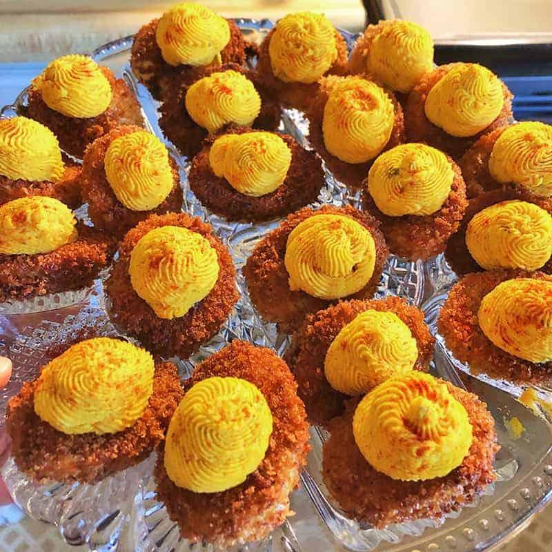 Cajun-style fried deviled eggs