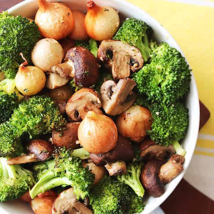 Air Fryer Broccoli with Mushrooms and Onions