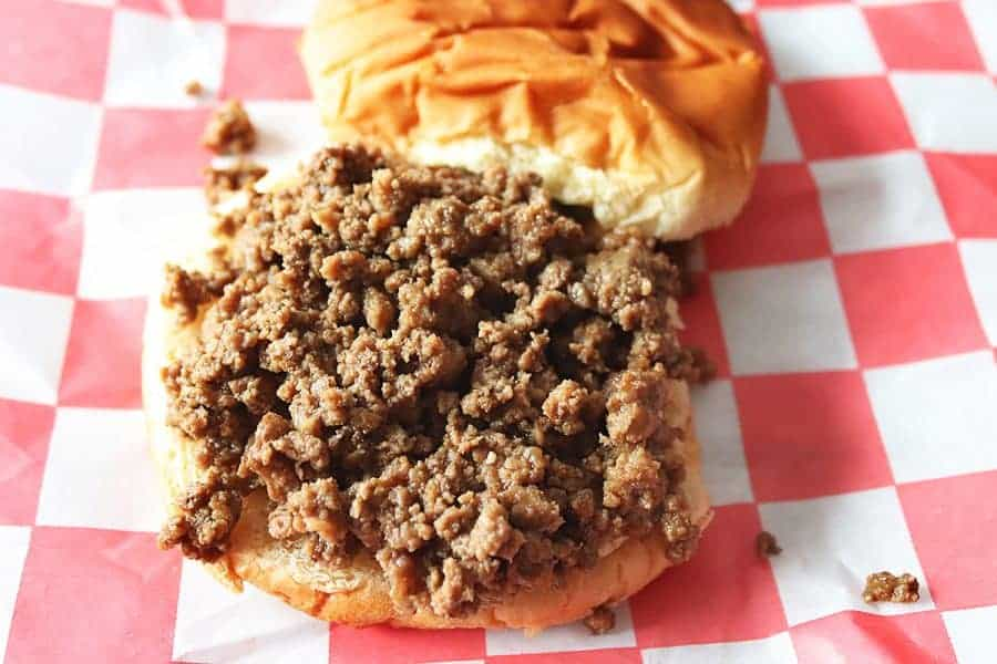Ground beef on a hamburger bun