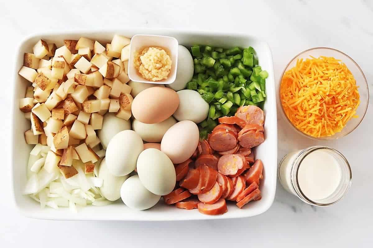 Ingredients for Easy Breakfast Casserole with Sausage and Potatoes