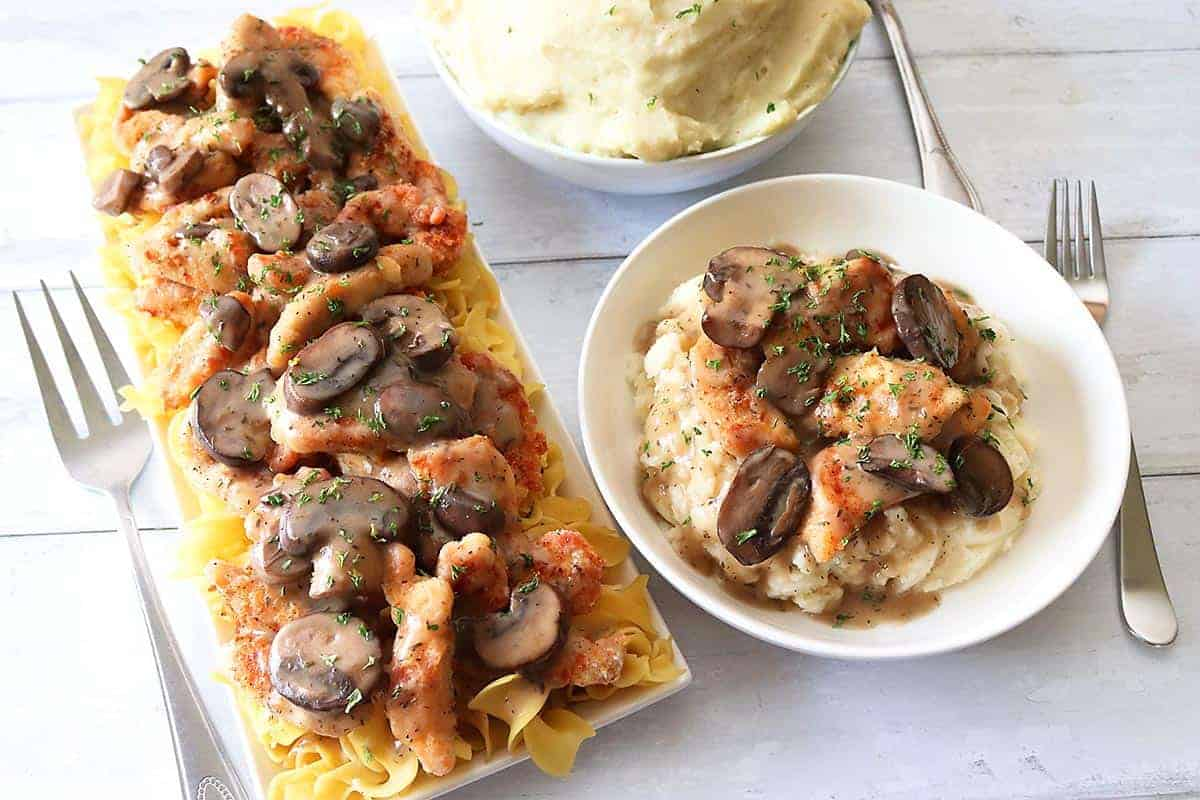 Chicken Marsala with Noodles and Mashed Potatoes