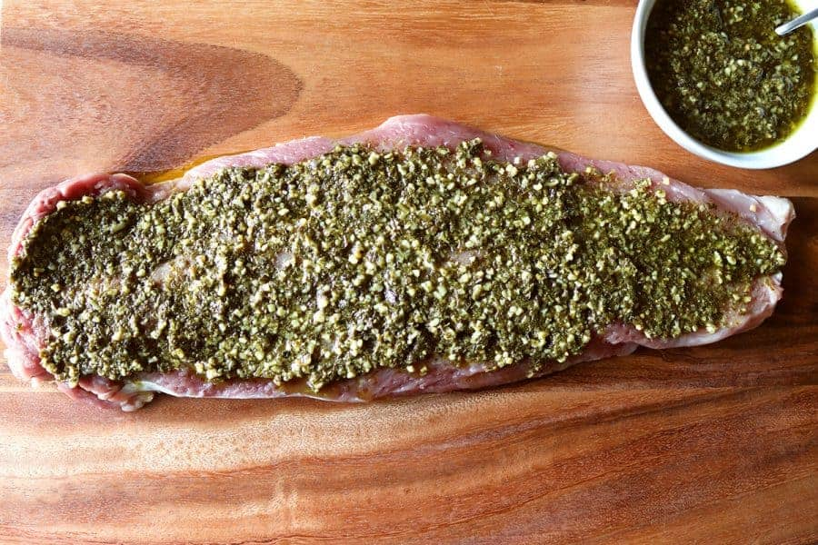 Basil Pesto Spread on the Pork Tenderloin