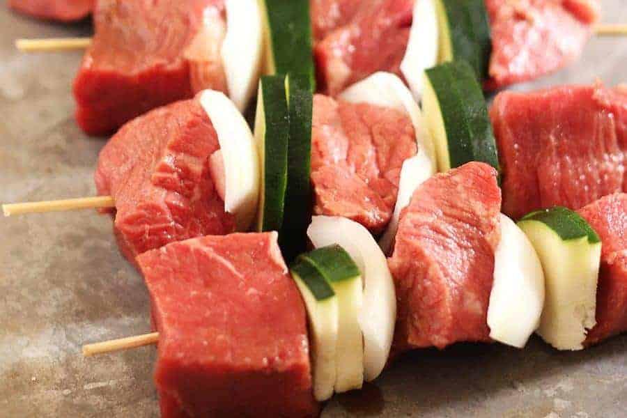 Raw Steak Kabob