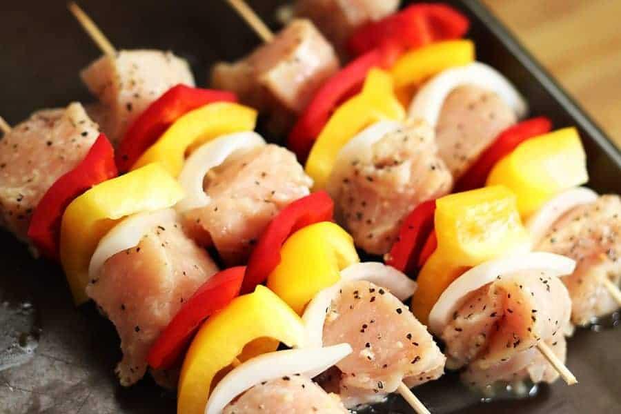 Raw Chicken Kabob