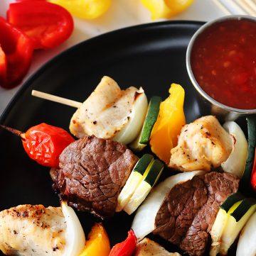Air Fryer Steak and Chicken Kabobs
