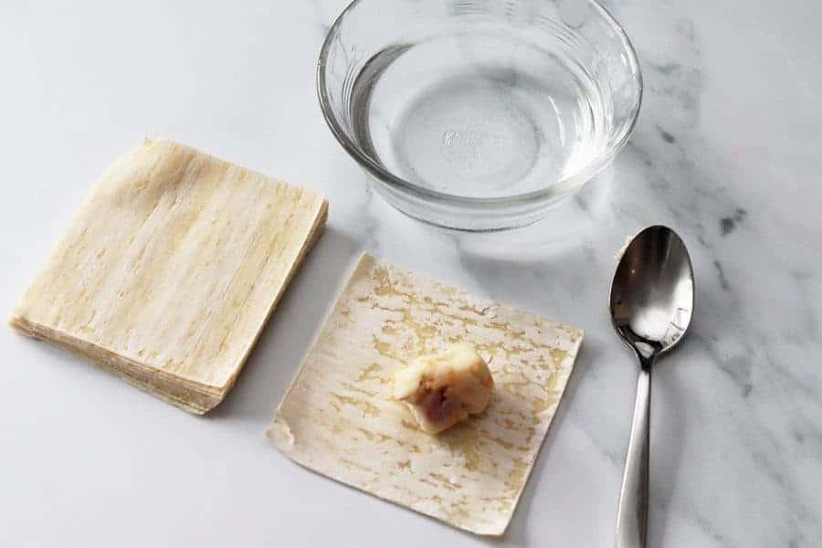 Place mashed potato mixture on each wonton