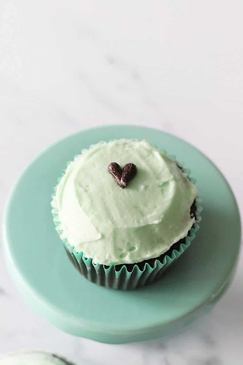 Mint Chocolate Chip Cupcake with Heart in the Center