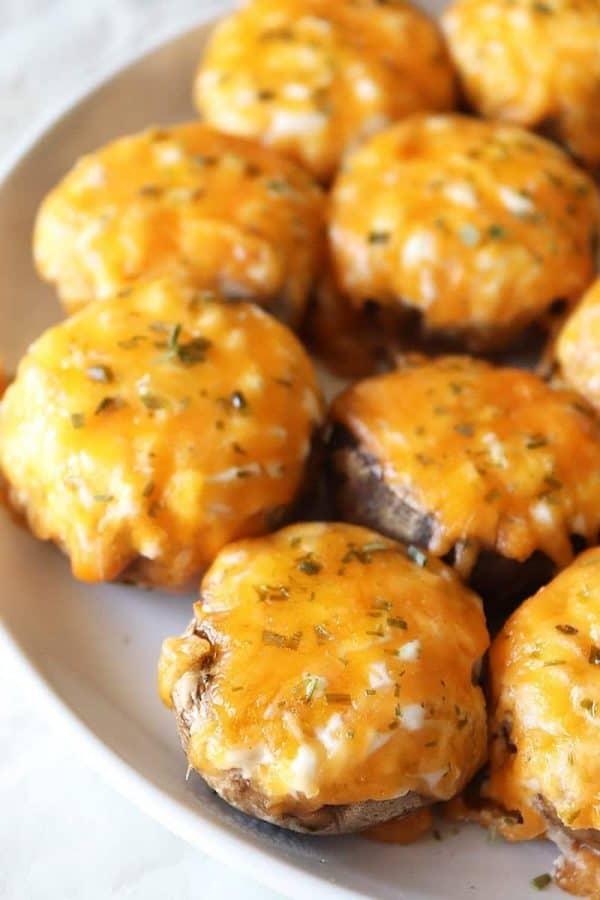 Plate of Air Fryer Stuffed Mushrooms
