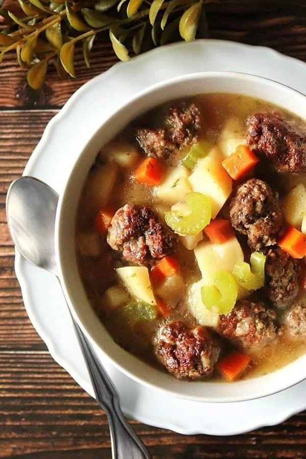Instant Pot Meatball and Potato Soup