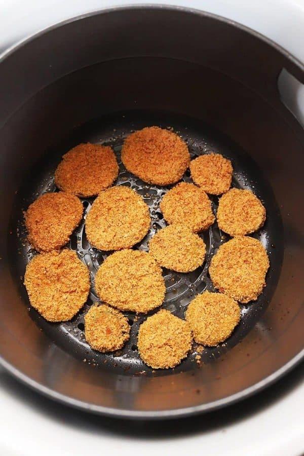 Air Fryer Fried Pickles in Air fryer basket