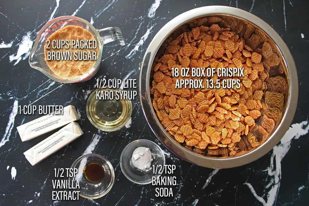 Ingredients for Caramel Crispix