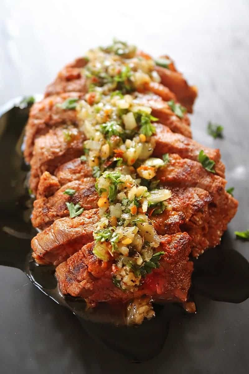 Grilled Marinated Flank Steak with Chimichurri