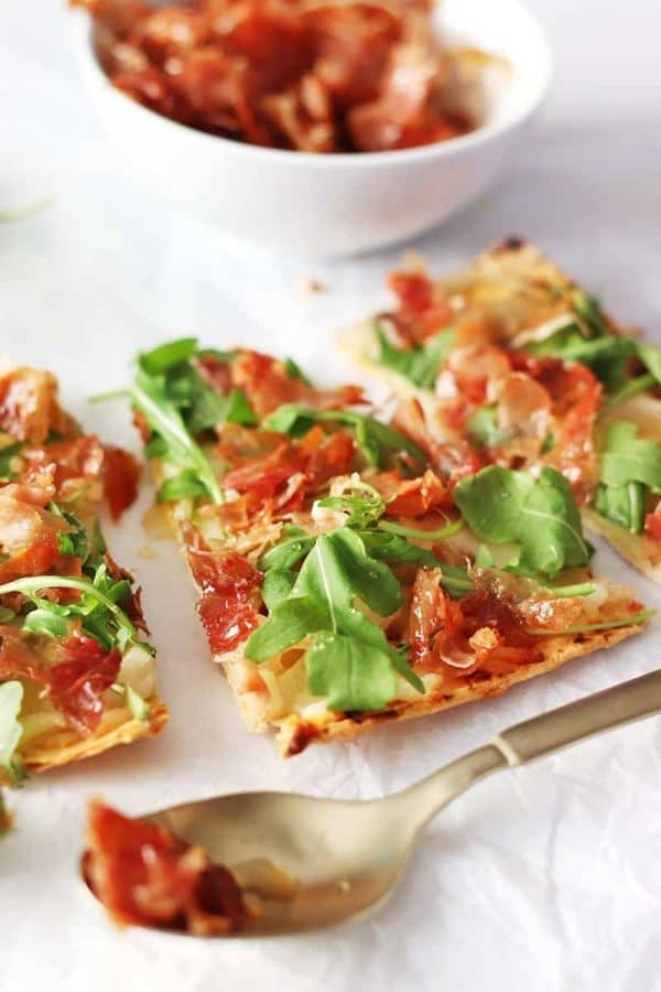 Spicy Honey Prosciutto Flatbread Pizza