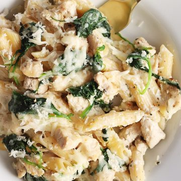 Creamy Three-Cheese Chicken and Spinach Pasta