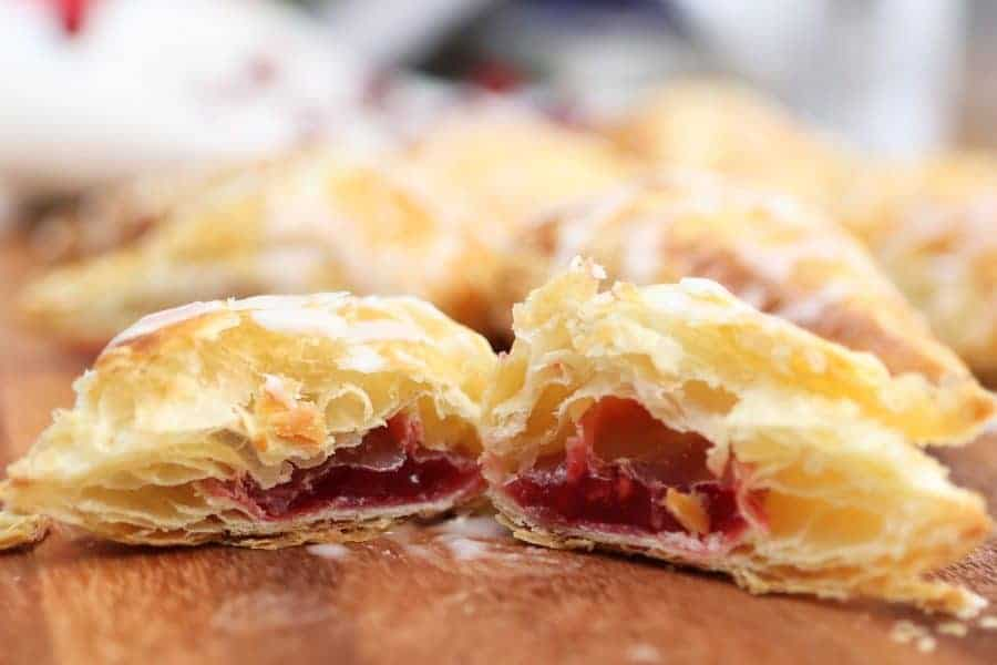 Cherry Puff Pastry Turnovers Split in Half