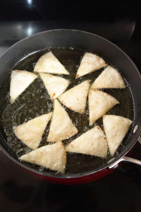 Pan-frying flour tortilla chips