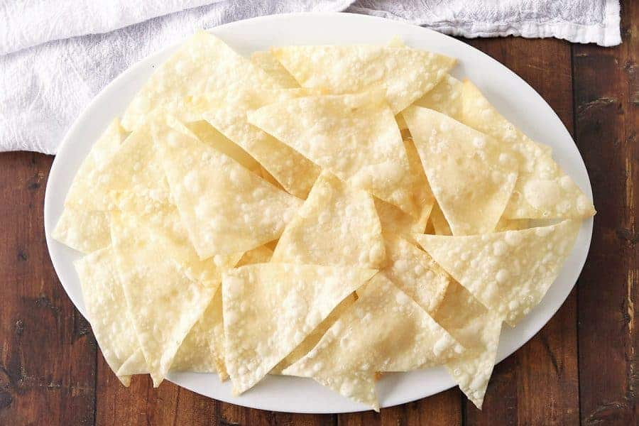 A platter of cooked wonton wrappers