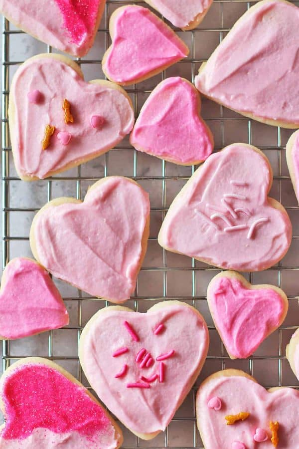 Valentine's Day Eggless Cookies on a Cooling Rack