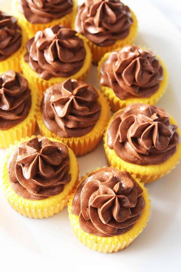 Yellow Cupcakes with Chocolate Buttercream Frosting