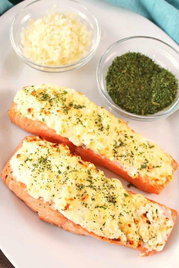 Air Fryer Garlic Parmesan Crusted Salmon