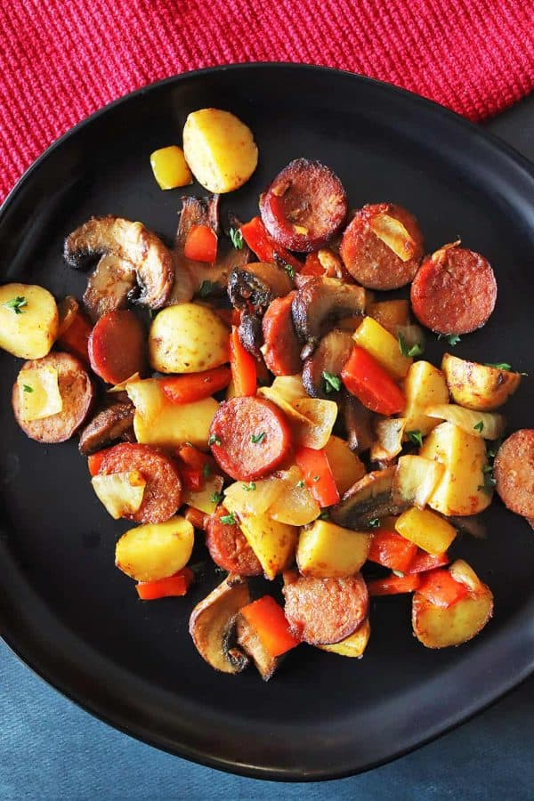 One-Pot Air Fryer Sausage, Peppers, Onions, and Potatoes