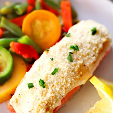 Air Fryer Garlic Parmesan Crusted Salmon