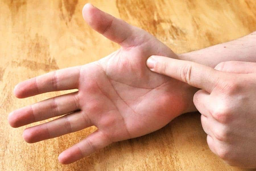 Pressing palm with index finger