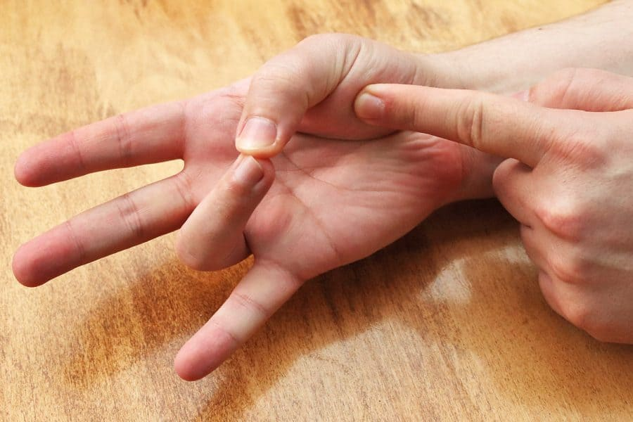 Pressing palm with index finger while touching ring finger