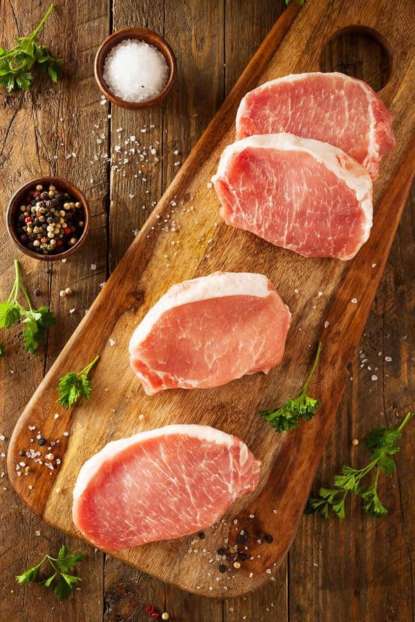 Raw boneless pork chops
