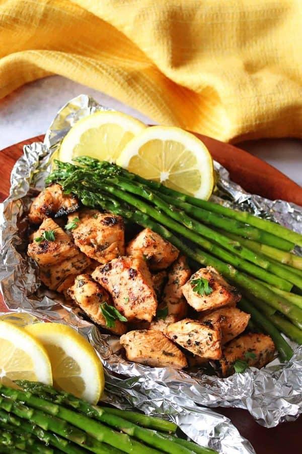 Grilled Chicken & Asparagus Foil Packs