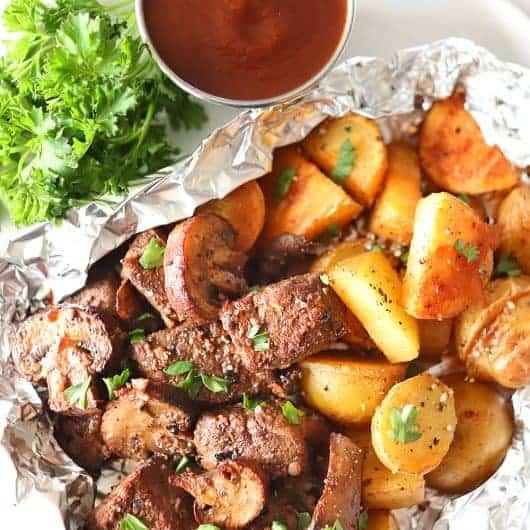 Steak, Potato, and Mushroom Foil Packs